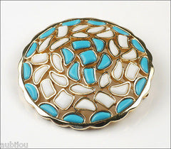 Vintage Crown Trifari Modern Mosaic White Blue Molded Glass Brooch Pin 1960's