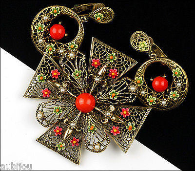 Vintage Signed Art Heraldic Red Enamel Maltese Cross Filigree Brooch Pin Set 1960's