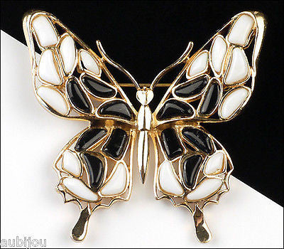 Vintage Trifari Figural White Black Mosaic Glass Butterfly Insect Brooch Pin 1960's