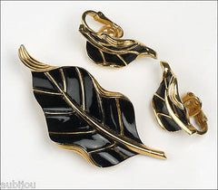 Vintage Crown Trifari Floral Black Enamel Leaf Brooch Pin Earrings Set Retro 1960's