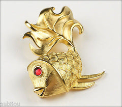 Vintage Crown Trifari Figural 3D Gold Tone Fish Brooch Pin Red Cabochon 1970's