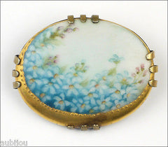 Vintage Porcelain Handpainted Floral Light Blue Forget Me Not Flower Brooch Pin