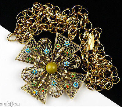 Vintage Signed Art Heraldic Green Enamel Maltese Cross Pendant Necklace Floral