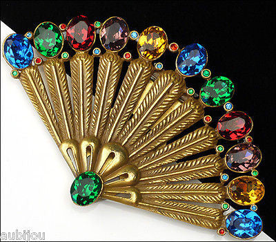 Vintage Czech Multi Color Rhinestone Fruit Salad Fan Dress Clip Art Deco 1930's