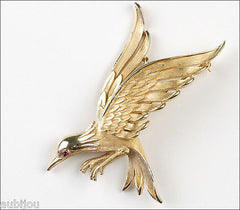 Vintage Crown Trifari 3D Figural Flying Bird Falcon Brooch Pin 1960's Jewelry
