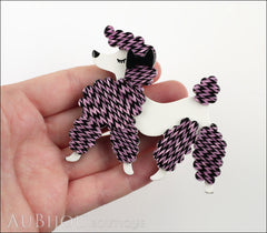 Erstwilder Brooch Pin Paige the Prancing Poodle Purple Violet Model