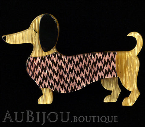Erstwilder Brooch Pin Samuel the Silly Sausage Dachshund Purple Gallery