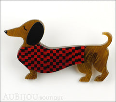 Erstwilder Brooch Pin Samuel the Silly Sausage Dachshund Red Front