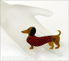 Erstwilder Brooch Pin Samuel the Silly Sausage Dachshund Red Mannequin