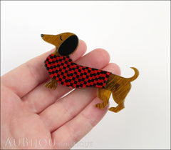 Erstwilder Brooch Pin Samuel the Silly Sausage Dachshund Red Model