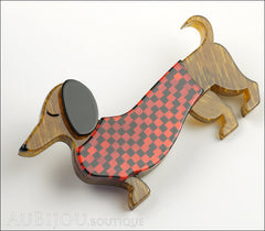 Erstwilder Brooch Pin Samuel the Silly Sausage Dachshund Red Side