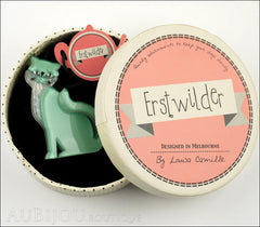 Erstwilder Cat Brooch Pin Purrfect Petunia Box