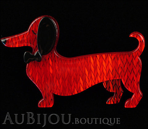 Erstwilder Dachshund Brooch Pin Spiffy the Sausage Dog Red Gallery
