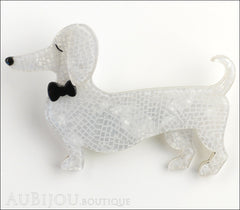 Erstwilder Dachshund Brooch Pin Spiffy the Sausage Dog White Front