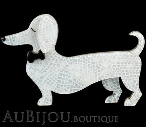 Erstwilder Dachshund Brooch Pin Spiffy the Sausage Dog White Gallery