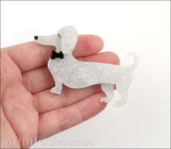Erstwilder Dachshund Brooch Pin Spiffy the Sausage Dog White Model