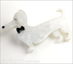 Erstwilder Dachshund Brooch Pin Spiffy the Sausage Dog White Side