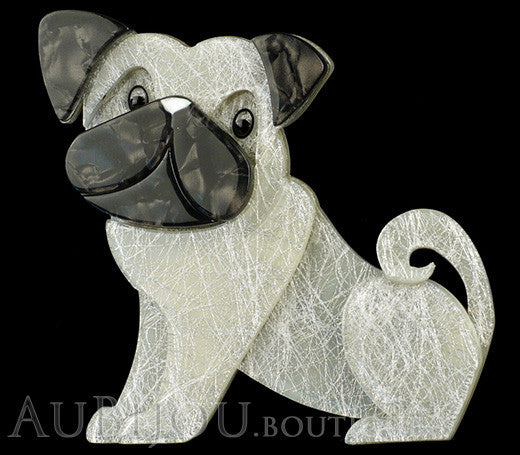 Erstwilder Dog Pin Brooch Preston Pug White Gallery