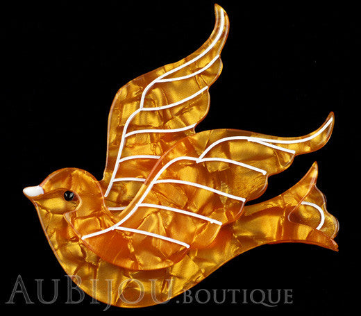 Erstwilder Pin Brooch Barbarella's Bird Yellow-Orange Gallery