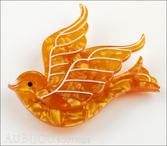 Erstwilder Pin Brooch Barbarella's Bird Yellow-Orange Side