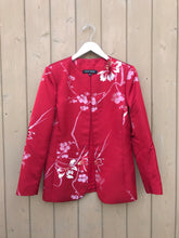 Load image into Gallery viewer, ANNE KLEIN Red Floral Print Open Jacket