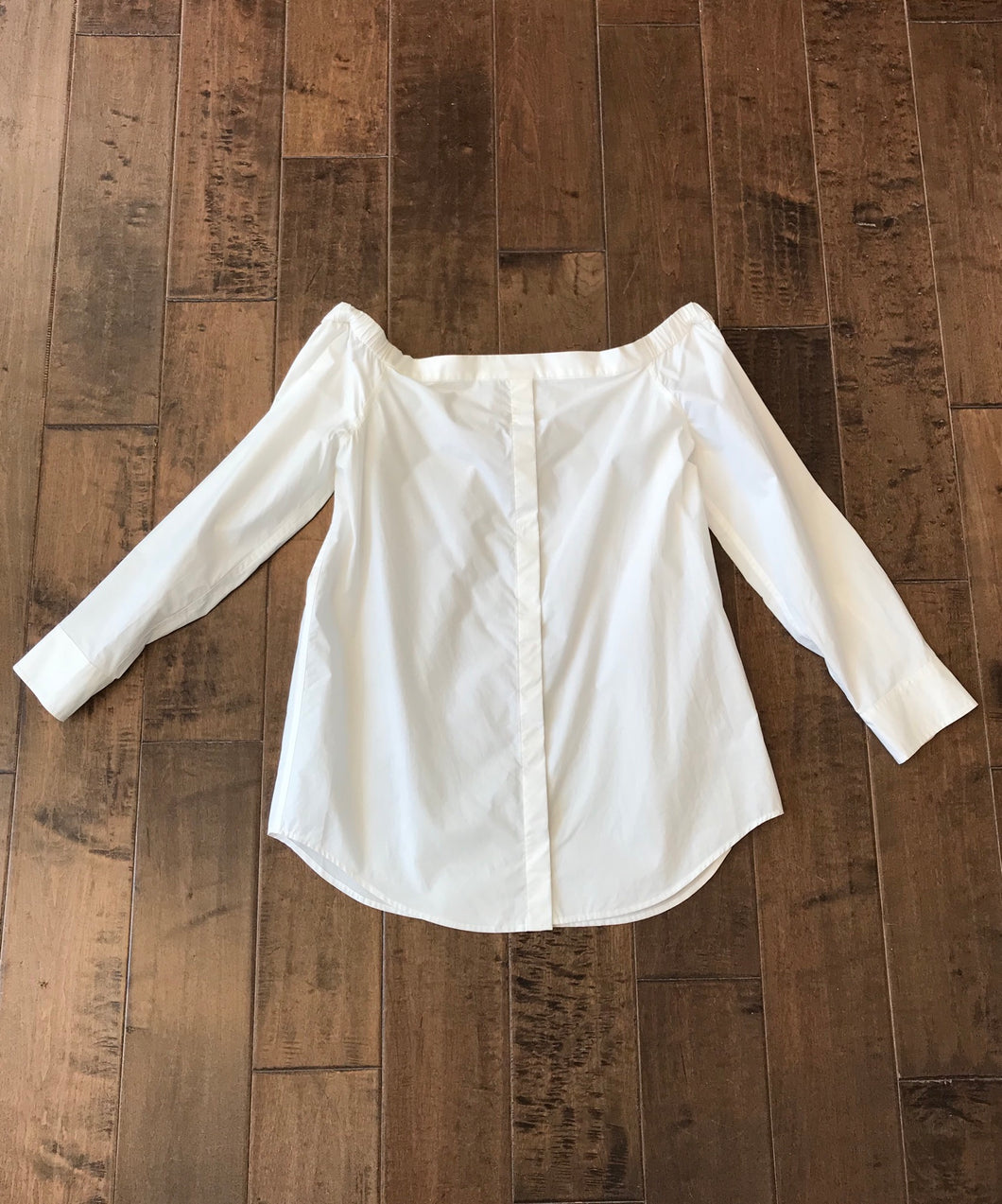 EQUIPMENT Off The Shoulder White Cotton Blouse