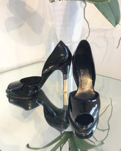 Load image into Gallery viewer, SALVATORE FERRAGAMO D'Orsay Patent Leather Peep-toe High Heels