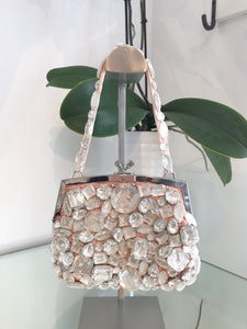 DINDA RELLA Vintage Clear Stone Jewel Embellished Clutch