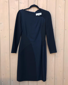 BURBERRY London Crepe 3/4 Sleeve Asymmetrical Neckline Fitted Midi Dress
