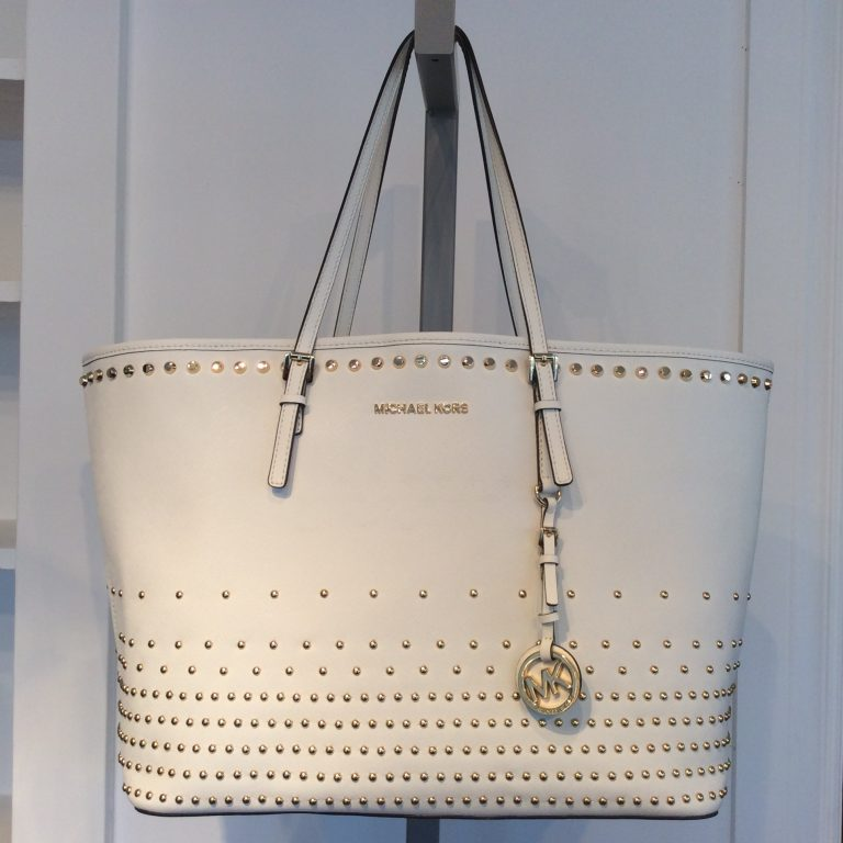 MICHAEL KORS Studded White Leather Tote