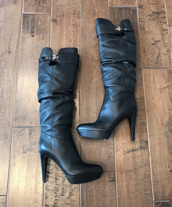 SERGIO ROSSI Leather High Heel Platform Knee High Boots