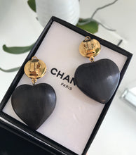 Load image into Gallery viewer, CHANEL Vintage CC Logo Faux Pearl and Wood Heart Drop Clip On Earrings