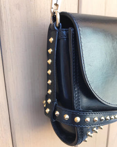 BURBERRY Small Abbott Gold Studded Black Leather Crossbody Bag