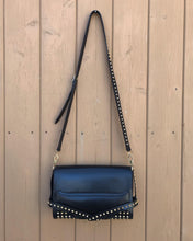Load image into Gallery viewer, BURBERRY Small Abbott Gold Studded Black Leather Crossbody Bag