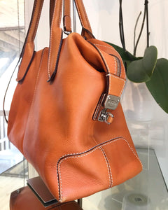 TOD'S Orange D-Styling Medium Bauletto Leather Tote Bag