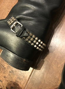 CHRISTIAN LOUBOUTIN Egoutina Leather Spiked-Toe Knee-High Riding Boots