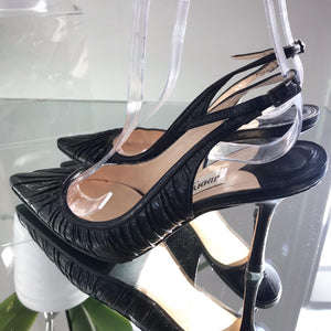JIMMY CHOO Mid-Heel Leather Slingback Pumps