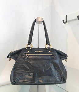 MIU MIU Distressed Leather Shoulder Bag