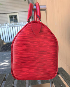 LOUIS VUITTON Red Epi Leather Speedy 25 Bag