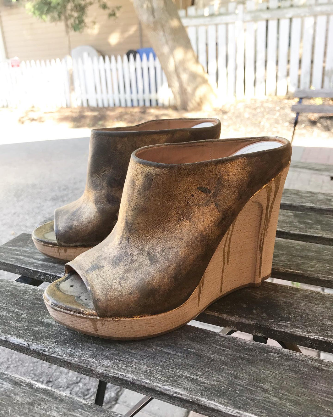MAISON MARTIN MARGIELA Distressed Leather Wooden Heel Wedges In Gold Paint Drip Design