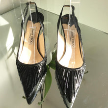Load image into Gallery viewer, JIMMY CHOO Mid-Heel Leather Slingback Pumps