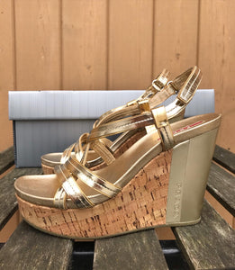 PRADA Patent Leather Cork Platform Wedge Sandals
