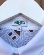 Load image into Gallery viewer, KENZO Paris White Cotton Eyelet Short Sleeve Shirt