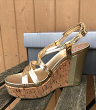 Load image into Gallery viewer, PRADA Patent Leather Cork Platform Wedge Sandals