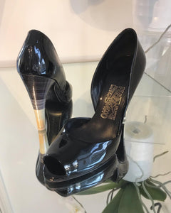 SALVATORE FERRAGAMO D'Orsay Patent Leather Peep-toe High Heels
