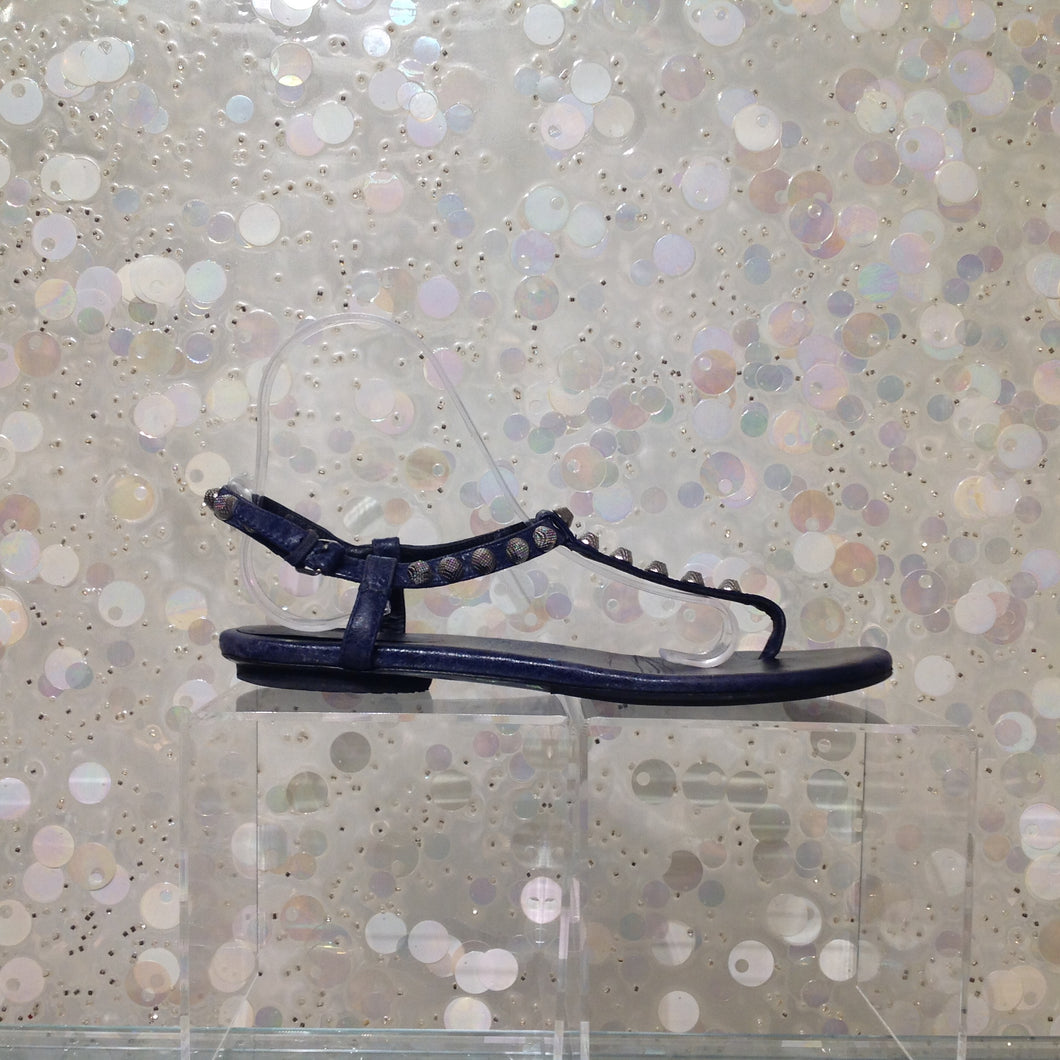 BALENCIAGA Studded Leather Thong Sandals