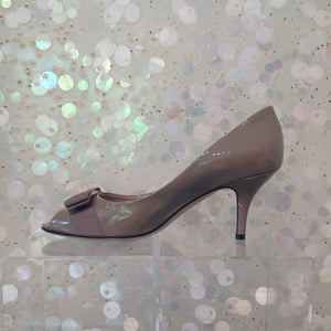 SALVATORE FERRAGAMO Peep Toe Patent Leather Pumps