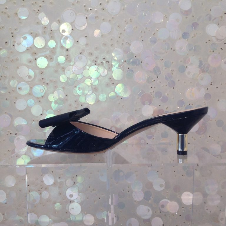 IN NIU Patent Leather Bow Embellished Mid Heels