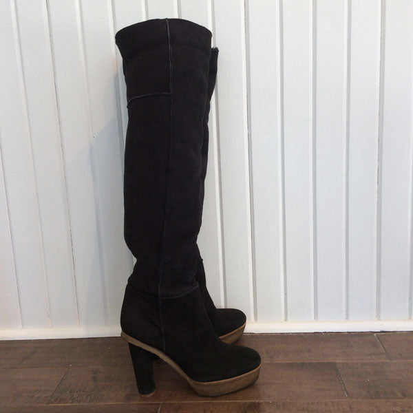 MICHEL VIVIEN Shearling Platform Knee-High Boots