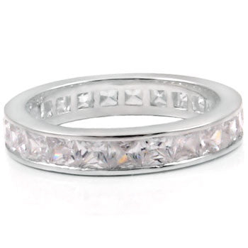 Sterling Silver Princess Cut CZ 3mm Eternity Ring size 4-11 by  Blades and Bling Sterling Silver Jewelry